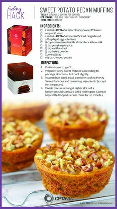 Sweet potato pecan muffins makes 8 servings 1 fueling 1 healthy fat 1 condiment Medifast Recipes, Low Carb Recipes, Cooking Recipes, Healthy Recipes, Cooking Videos, Healthy Desserts, Healthy Meals, Diet Recipes, Snack Hacks