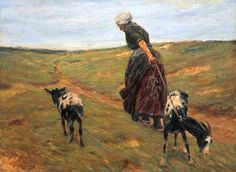Max Liebermann - Woman with her goats in the dunes (1890)