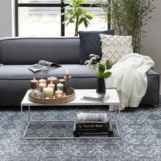 Glazed coffee table steals the show! There is something about tile top tables. They have a vintage charm, are sturdy, easy to clean and up to any task you can reasonably ask of a coffee table. Tile Top Tables, Table Cafe, Outdoor Furniture Sets, Outdoor Decor, Interior Styling, Living Room, Coffee, Design, Inspiration