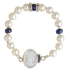 """E, Shaw's Sapphire & Pearls with a Cameo - handknotted on silk ...and you can assure that she remembers her """"Something Blue""""!"""