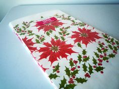 NOS Vintage POINSETTIA Paper Tablecloth New by ShantyIrishVintage