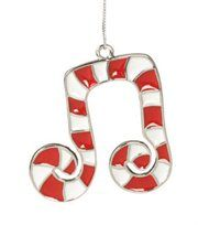 Peppermint Twist Eighth Note Music Note Christmas Ornament