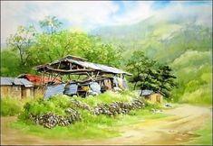 수채화 풍경화 : 네이버 이미지검색 Watercolor Scenery, Japanese Watercolor, Watercolor Landscape, Landscape Paintings, Landscapes, Village Photography, Sketchbook Inspiration, Watercolour Painting, Home Art