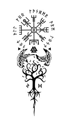"Vegvisir for guidance Ungiz for perseverance surrounding runes: ""not all who wander are lost."" Valknut for strength. Huginn and muginn for wisdom. Yggdrasil for balance. Jerah and dagaz for decision making."