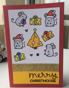 Christmas card 2015 using lawn fawn merry christmouse stamp set, tec black embossing powder and gold glitter tape