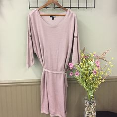 ANA Blush Sweater Dress Blush pink sweater dress with wide sleeves. Brackets on sleeve. Includes thin belt. a.n.a Dresses Long Sleeve