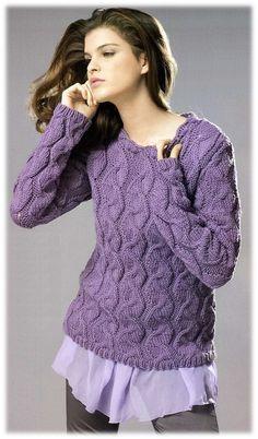 Модный пуловер спицами схемы 2015. Пуловер спицами 2015. | Домоводство для всей семьи.