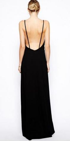Love Love LOVE this Dress! SO Gorgeous! Sexy Black Spaghetti Strap Backless Maxi Dress Holiday Fashion #Sexy #Black #Backless #Maxi_Dress #Fashion
