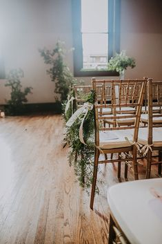 Alyssa and Jayson's glamorous, romantic southern wedding ceremony and reception with Infinity Hospitality at The Bell Tower in downtown Nashville. Chiavari Chairs Wedding, Gold Wedding, Wedding Flowers, Wedding Ceremony Seating, Aisle Markers, Southern Weddings, Greenery, Romantic, Tower