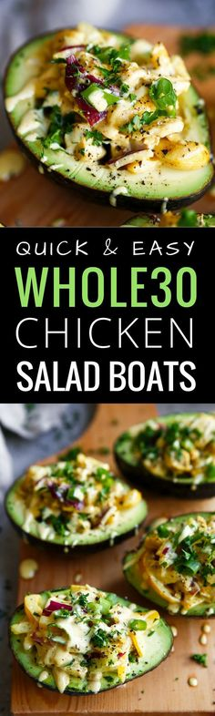 5 minute Whole30 lunch on the go! Easy whole30 chicken salad boats (Fitness Recipes Easy)