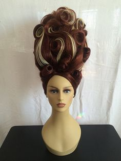Red Synthetic Wig for Costume or Drag. 19 Inch tall Hairdo ready go out and paint the town !