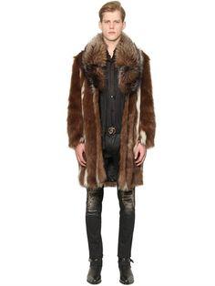 12354c8490f Roberto Cavalli Faux Fur Coat With Fox Fur Collar