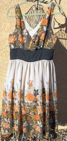 Chadwick's Sun Dress Size 10 Floral Sleeveless Gorgeous Orange Brown Flowers #Chadwicks #Maxi #Clubwear