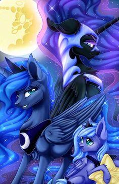Woona, Luna, and Nightmare Moon.