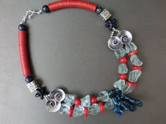 Necklace Sailor Nepalese beads red coral blue by necklacehandmade