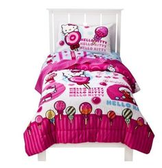 Hello Kitty Sweet Scents Comforter and Sheet Set - Twin - Product Description: Number of Pieces: 1 Fiber Content: 100 % Polyester Fill Material: 100 % Polyester Kids Comforter Sets, Kids Comforters, Twin Comforter, Pink Bedding, Candy Themed Bedroom, Hello Kitty Bedroom, Kids Sheets, Kids Canopy, Twin Sheet Sets