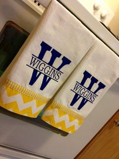 split alpha + chevron trim dish towel