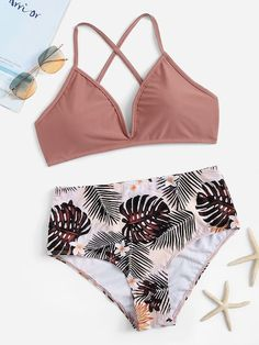 Shop Criss Cross Top With Random Tropical Bikini online. SHEIN offers Criss Cross Top With Random Tropical Bikini & more to fit your fashionable needs. Bathing Suits For Teens, Summer Bathing Suits, Cute Bathing Suits, Summer Suits, Cute Swimsuits, Cute Bikinis, Summer Bikinis, Women's Bikinis, Swimsuits For Teens