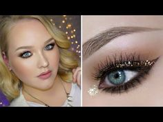 ▶ Glitter Holiday Party Makeup Look - oro onthe lid, brown eye liner and over it a mix of gold glitter and bronze chopper