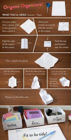 DIY an organizer with this origami tutorial. | 54 Ways To Make Your Cubicle Suck Less