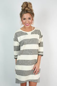 Stripes are just our type, and so is this sweatshirt dress! Wear it with leggings or without for a sporty look that's super chic!