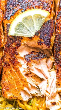 Perfectly seasoned, tender, and very easy to make, this Blackened Salmon makes a great dinner, worthy of a special occasion. Shellfish Recipes, Seafood Recipes, Gourmet Recipes, Cooking Recipes, Healthy Meal Prep, Healthy Snacks, Healthy Recipes, Top Recipes, Recipes