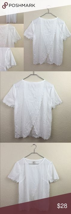 J.crew linen top J crew scallop linen eyelet top with cross over open back size 2 no flaws J. Crew Tops Blouses