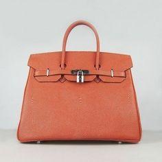 f5016ef8d71d Wholesale Réplique Hermes Birkin 35CM modèle de perle orange Argent -  €330.00   réplique sac a main, sac a main pas cher, sac de marque   sac  hermes birkin ...