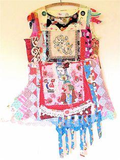 Huge Assortment of Random SCRAPS of FABRIC COLLAGE CLOTHING Wearable Folk Art MyBonny