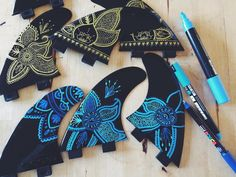 Surfart-When live gives you hands, make Handmade :) My fins collection, made with Posca pens