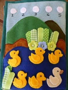 5 little ducks quiet book page