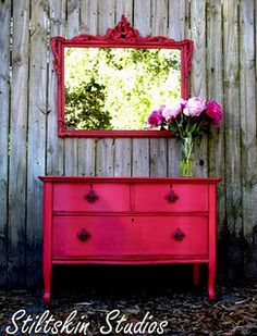 hot pink - ok, not my choice of colors, but I love the painted mirror and dresser combination!