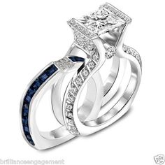 3.25 CT PRINCESS DIAMOND ENGAGEMENT RING & BLUE SAPPHIRE BAND BRIDAL SET