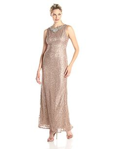 Eliza J Beaded Lace Gown, Taupe - http://www.womansindex.com/eliza-j-beaded-lace-gown-taupe/