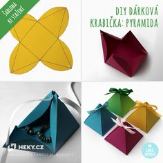 heky-vychytavky-darkova-krabicka-pyramida Diy And Crafts, Arts And Crafts, Paper Crafts, Diy Art, Kirigami, Advent Calendar, Gift Wrapping, Gifts, Design