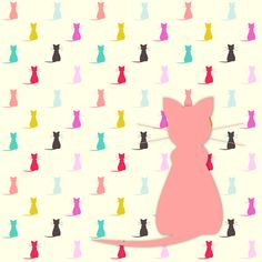 FREE printable gift wrapping paper with colorful cat silhouettes