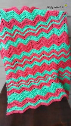 I love these bright and bold colors for a ripple crochet blanket