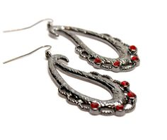 Items similar to Gun Metal Grey Tear Drop Earrings with Red Crystal Accents large eye catching dark grey earrings on Etsy Teardrop Earrings, Women's Earrings, Large Eyes, Stone Pendants, Jewelry Supplies, Beautiful Necklaces, Dark Grey, Gun, Jewlery