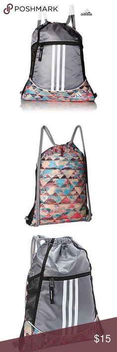 """ADIDAS Alliance II Sackpack Marble Print/Grey NWT ADIDAS Perfomance Alliance II Sackpack Sports Gym Backpack Marble Print/Grey  Grab your gear and go with this adidas Alliance II sackpack, featuring two mesh pockets and a logo at the front. Dimensions: approx. 18"""" x 13-3/4"""" Exterior: zip pocket at front; 2 mesh pockets at sides; drawstring closure Polyester Machine washable adidas Bags Backpacks"""