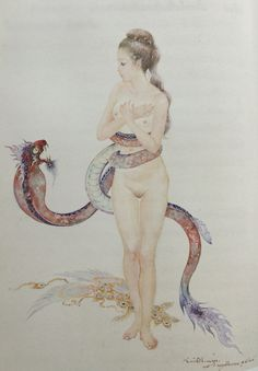 """Manorah caught in a magical Naga lasso"", 1991, watercolor on paper, by Chakrabhand Posayakrit, a Thai national artist"