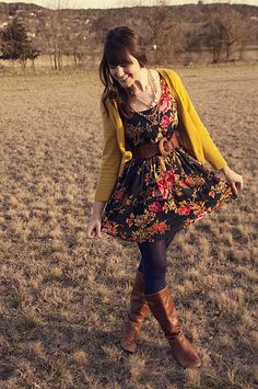 Fall/Winter Outfit: Mustard Cardigan + Black Floral Knee Length Dress + Black Tights + Wide Brown Belt + Brown Boots