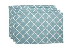 """Living Fashions Washable Woven Quatrefoil Placemats (13"""" x 19"""") Non-slip Table Mats for Kitchen Dining, Set of 4, Color Teal Blue"""