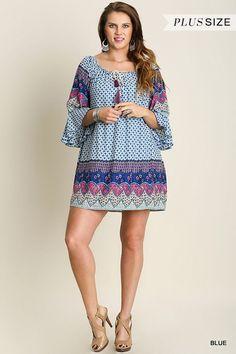Online Clothing Boutique   Kelly Brett Boutique - Plus Size Bell Border Dress Blue, $40.00 (http://www.kellybrettboutique.com/plus-size-bell-border-dress-blue/)