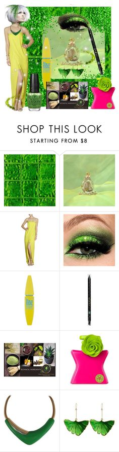 """Yellow and Green"" by bonnie-dimbat ❤ liked on Polyvore featuring Designers Guild, BCBGMAXAZRIA, Maybelline, Gucci, Bond No. 9, Monet, Aurélie Bidermann and OPI"