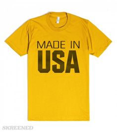 Made In Usa | American Apparel Unisex Fitted Tee / Gold with metallic dark letters #Skreened