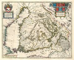 The first printed map of the Grand Duchy of Finland (Magnus Ducatus Finlandiæ). by Dutch map maker Joan Blaeu Old Maps, Antique Maps, Vintage Wall Art, Vintage Walls, I Think Map, History Of Finland, Map Maker, World History Lessons, Map Pictures