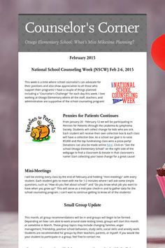 The Middle School Guidance Office My Latest Newsletter  School