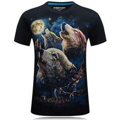 3c0fe0aca68 3D T-shirt Mens Hot Summer Animal Snake Tiger Wolf Lion Printed T-shirts  Men Cotton Casual Brand T shirt