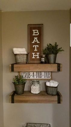 rustic Bathroom Decor 20 DIY Creative Ideas You Should Try For Your Rustic Home Decoration Rustic Bathroom Decor, Farmhouse Decor, Bathroom Ideas, Bathroom Wall, Small Bathroom, Bathroom Storage, Bathroom Decor Ideas On A Budget, Modern Farmhouse, 1950s Bathroom