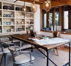Industrial Office Decor, light fixtures from Anthropologie, Desk from Restoration Hardware